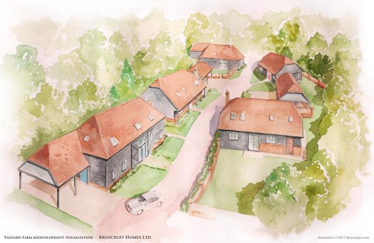 Tanyard Farm (Whole Site) – illustration by Mozchops | Brenchley Homes